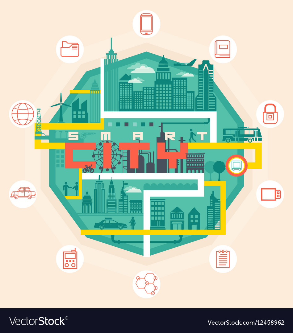 Infographic smart city concept with different icon