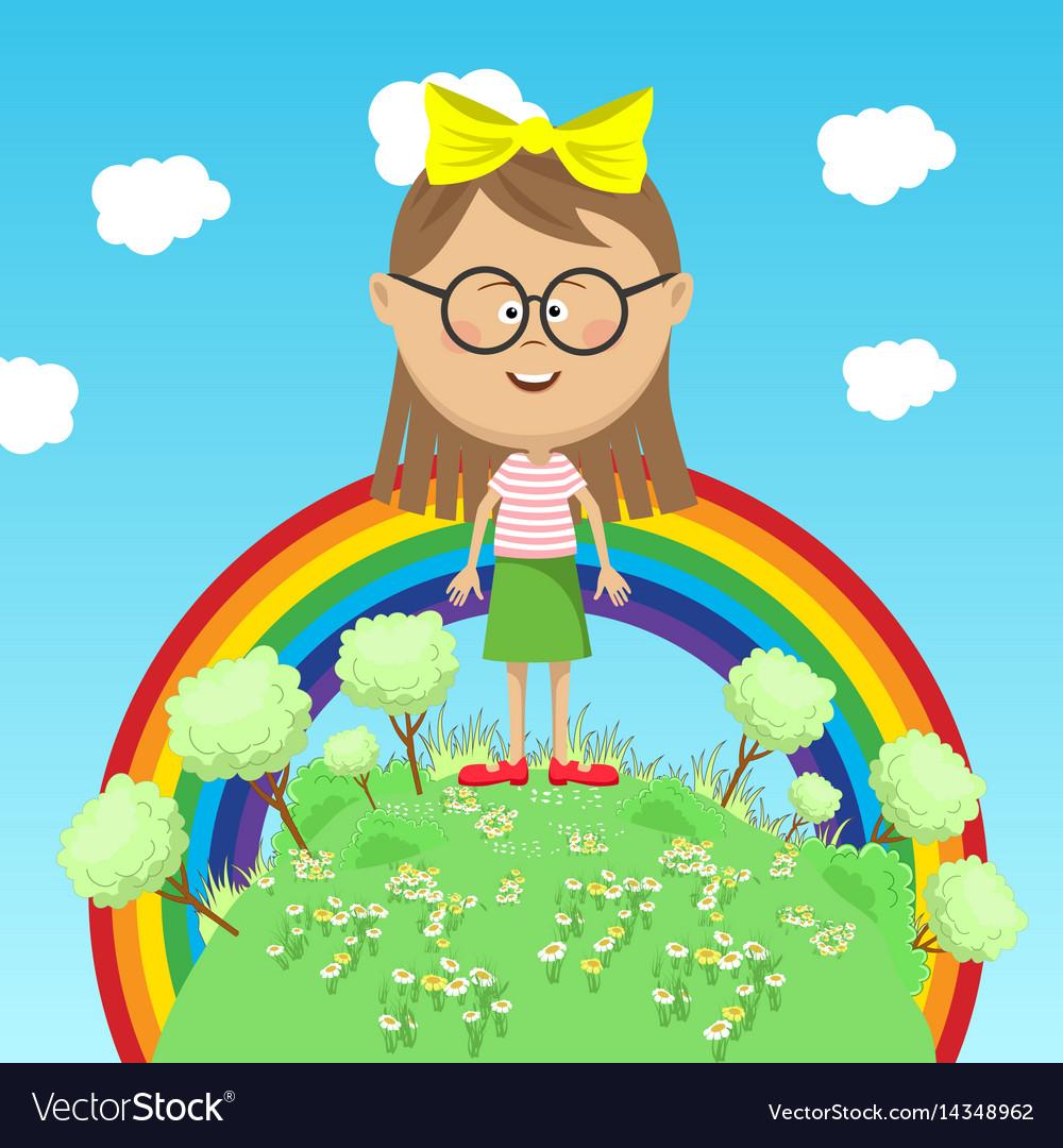 Little girl standing on green earth over rainbow