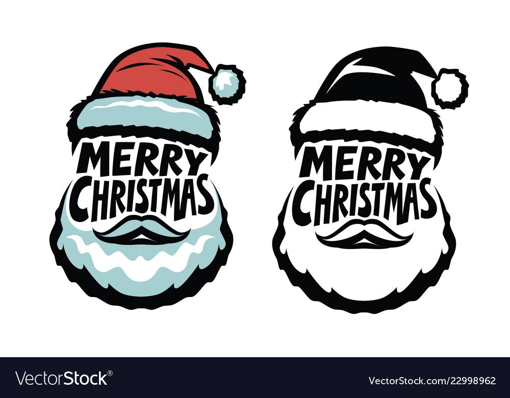 Merry christmas handwritten lettering santa