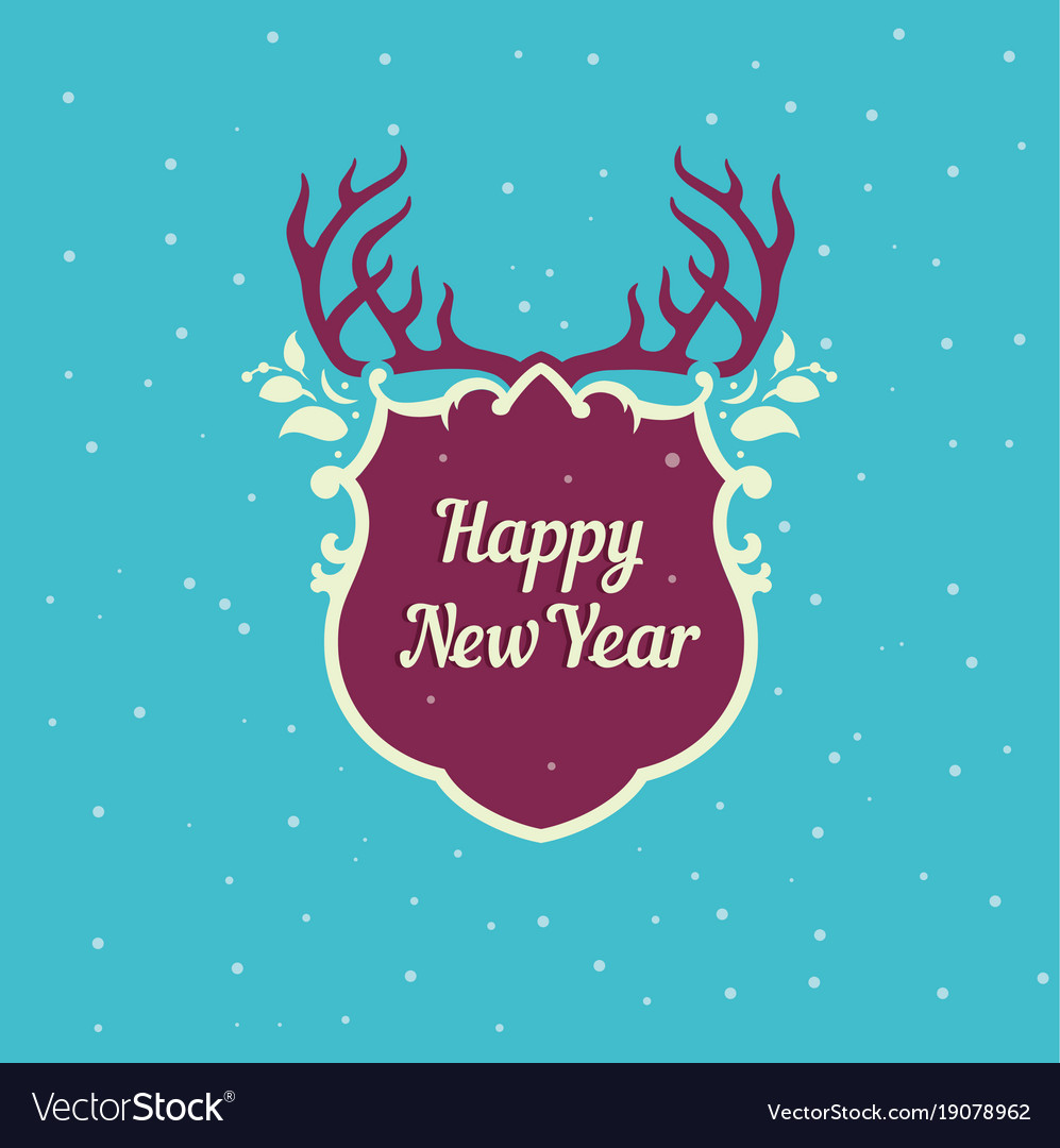 postcard template deer forest happy new year and vector image