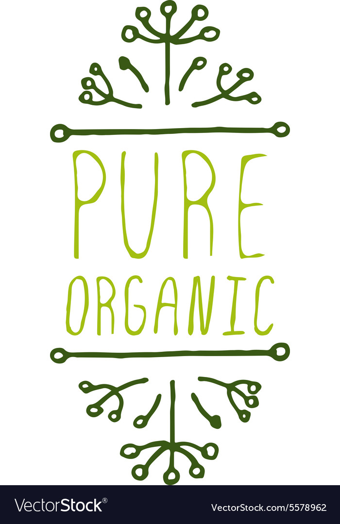 Pure organic - product label on white background