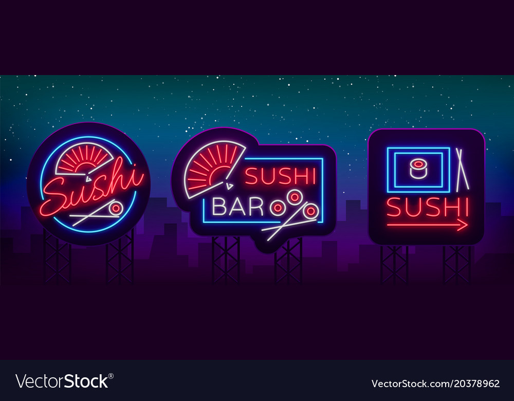 Set of logos signs in neon style on sushi
