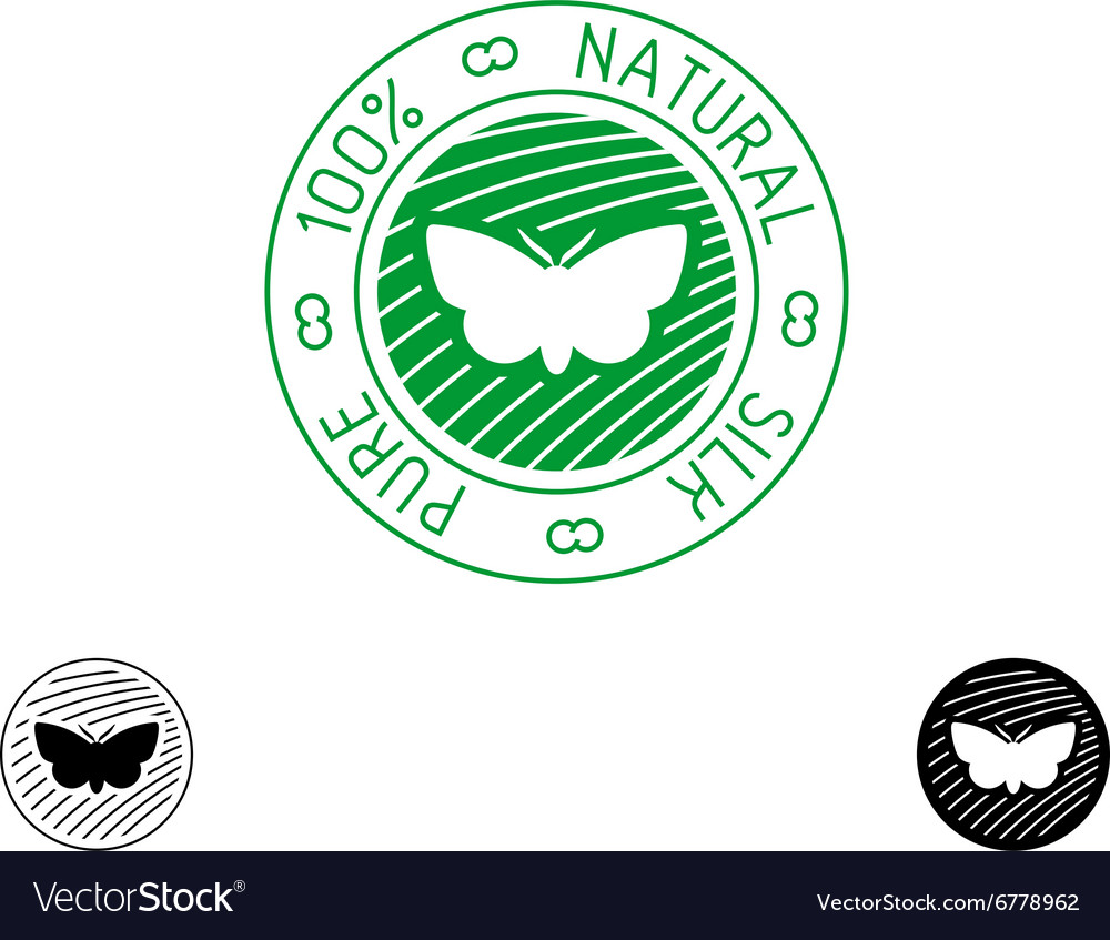 Silk logo 100 pure natural silk badge for clothing vector image
