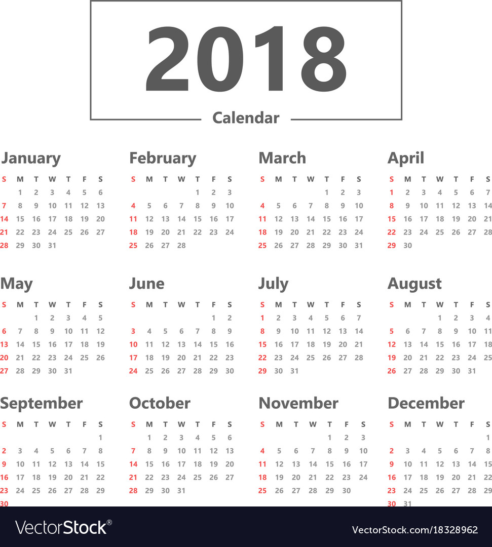 Year Calendar Vector : Yearly wall calendar planner template for vector image
