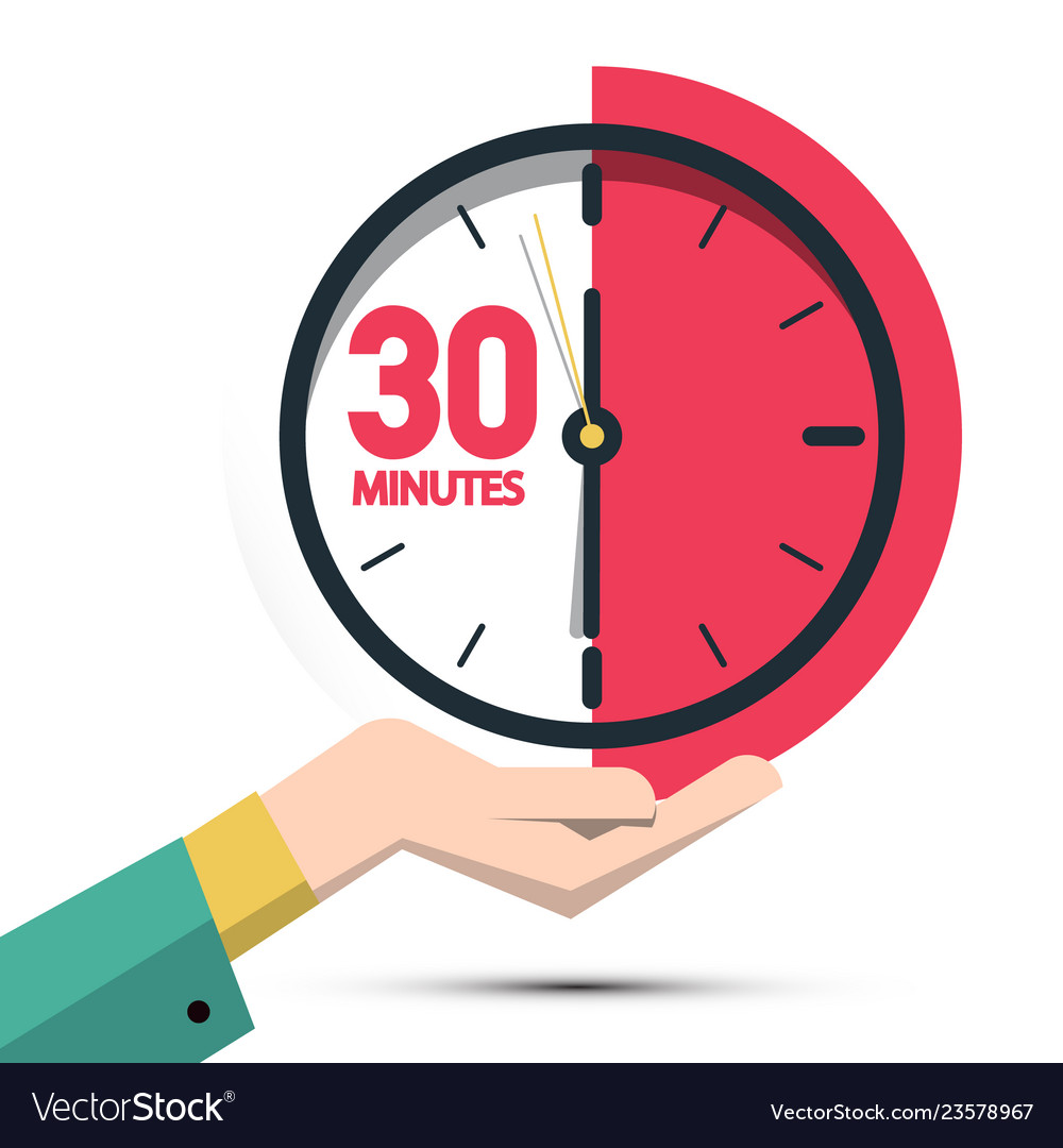 30 thirty minutes clock in hand time symbol