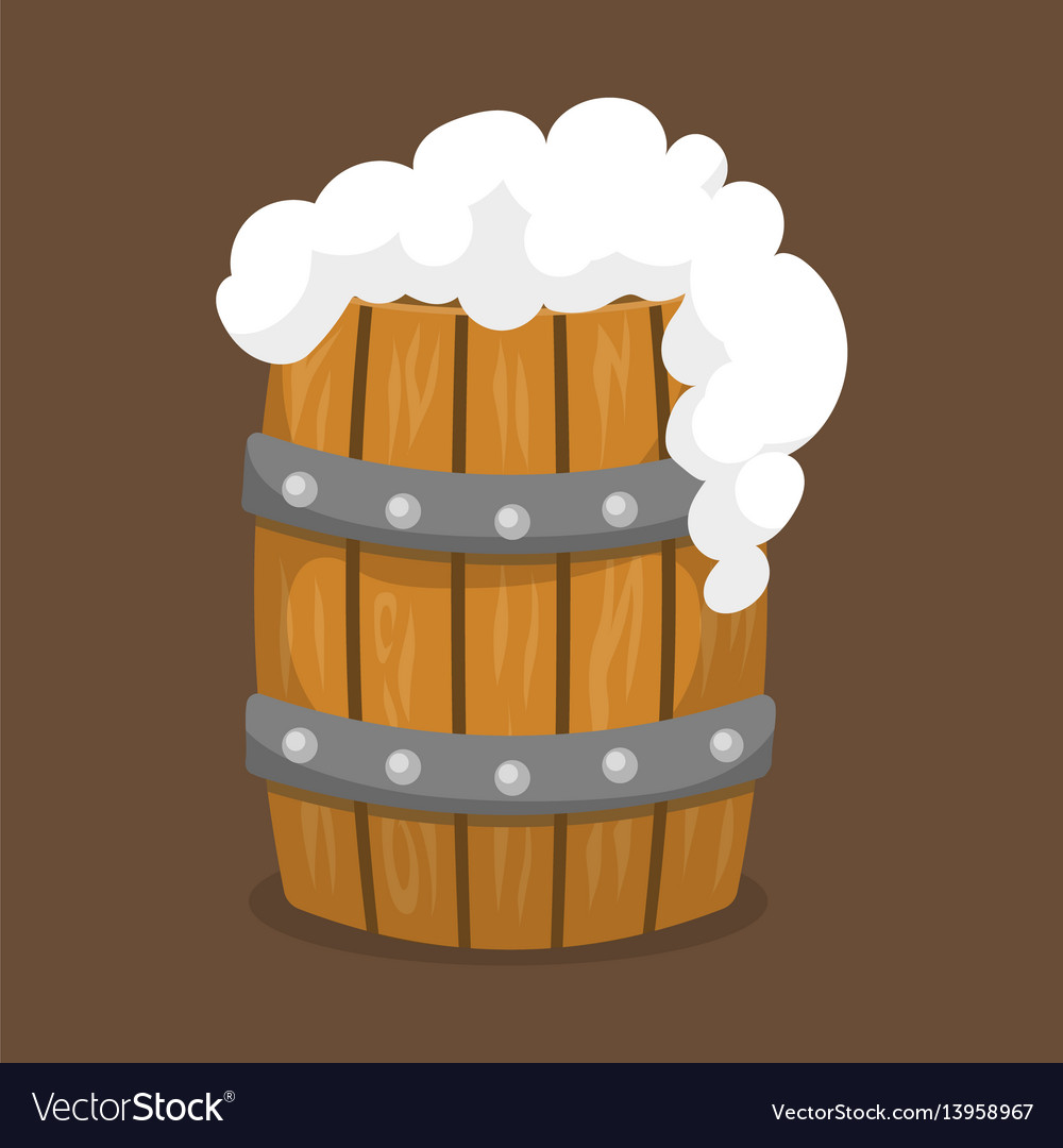Alcohol beer barrel with white foam