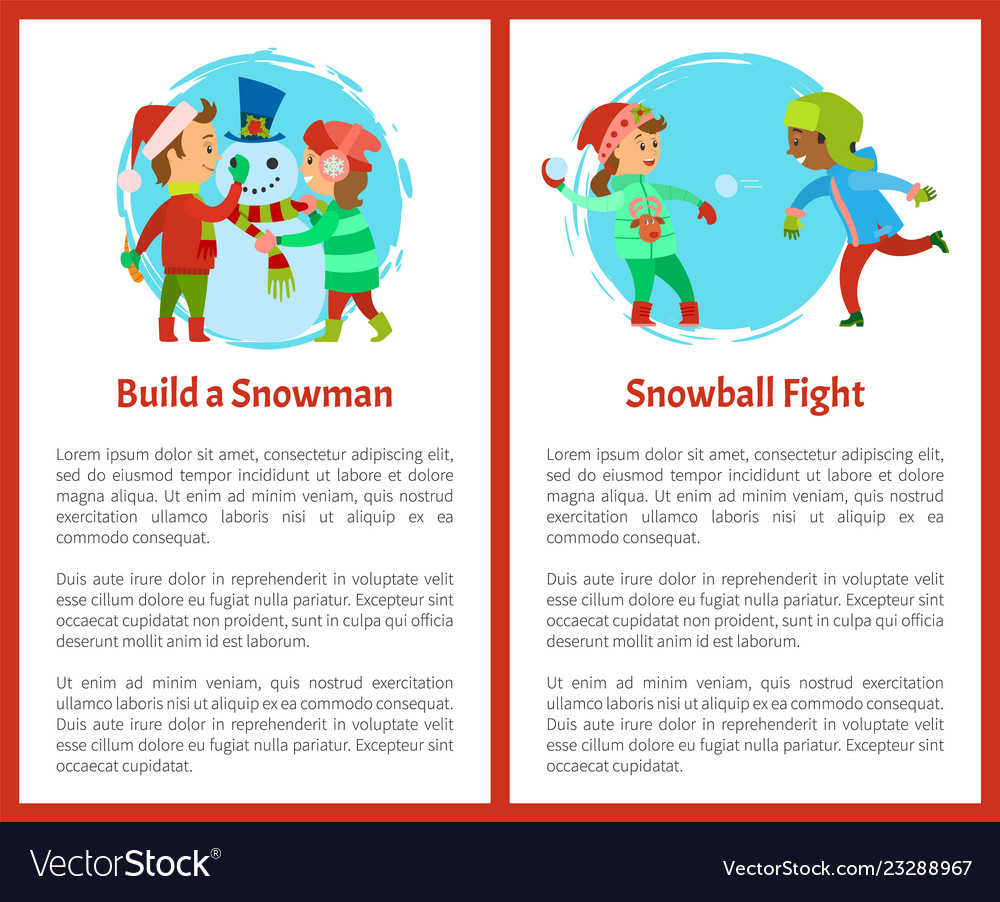 Build snowman and snowball fights postcards