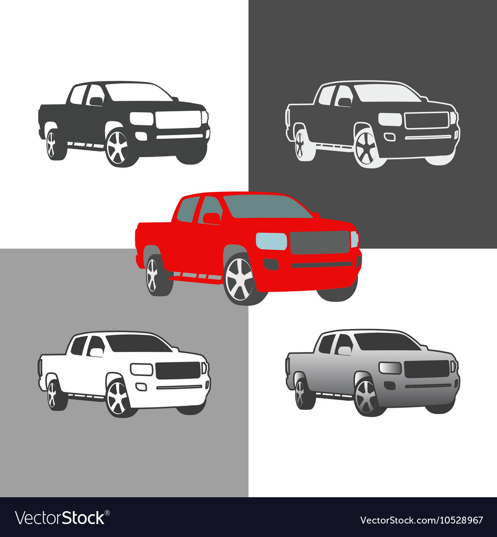 Car pickup truck vehicle silhouette icons colored