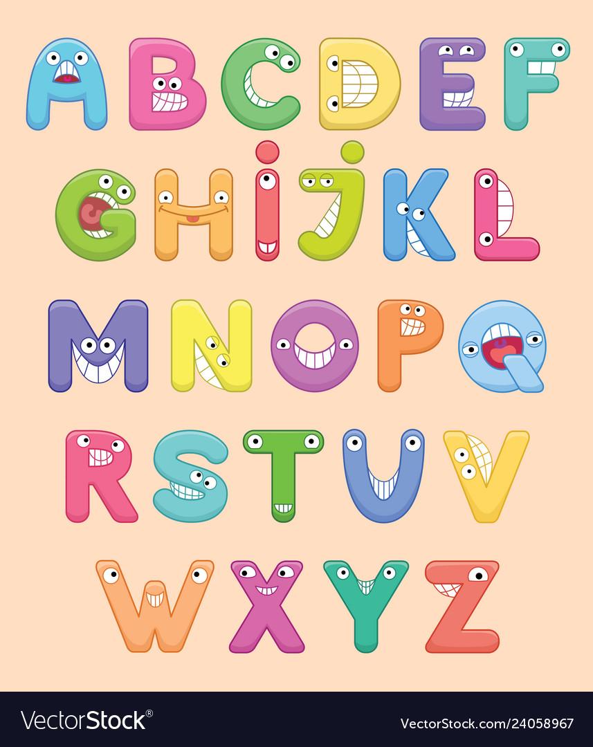 Funny colorful cartoon alphabet alphabetical