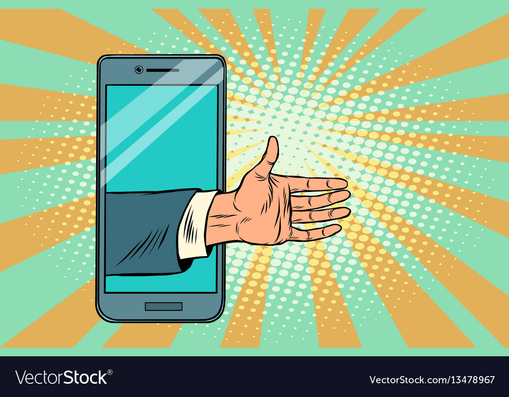 Greeting handshake open palm in the smartphone