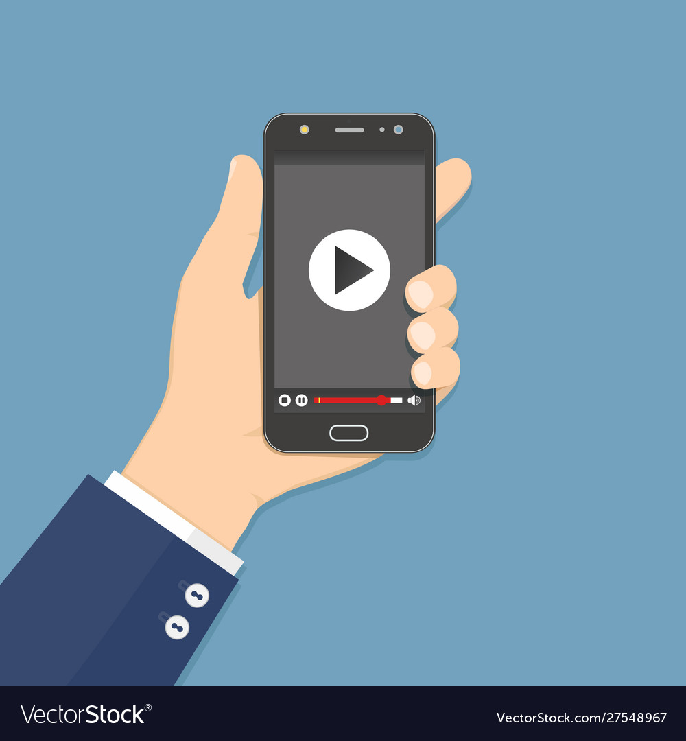 Hand holding smartphone with video player on the