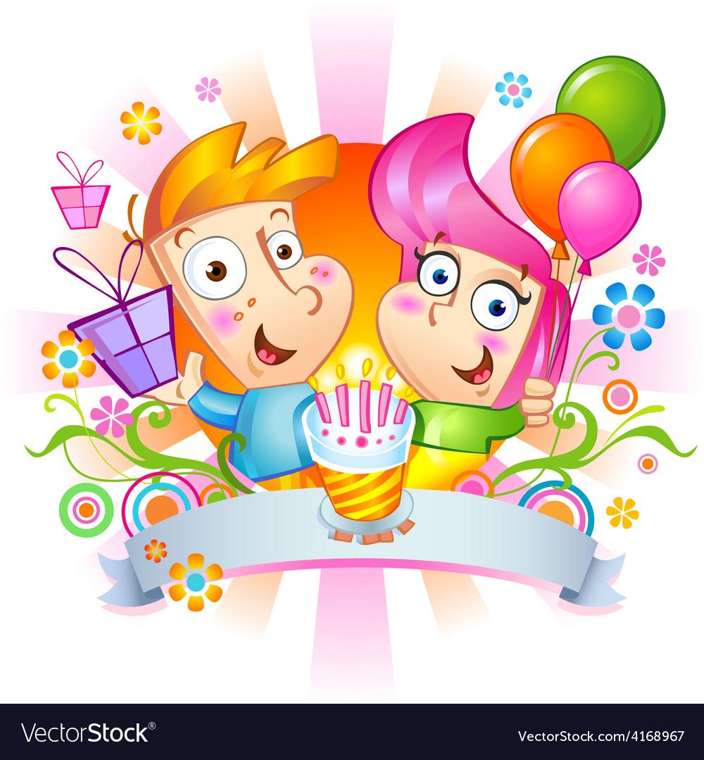 Happy Birthday Congratulations Vector Image