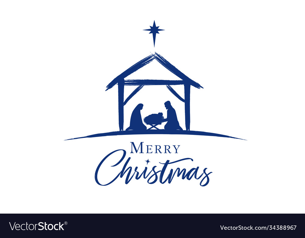 Merry christmas jesus in manger star
