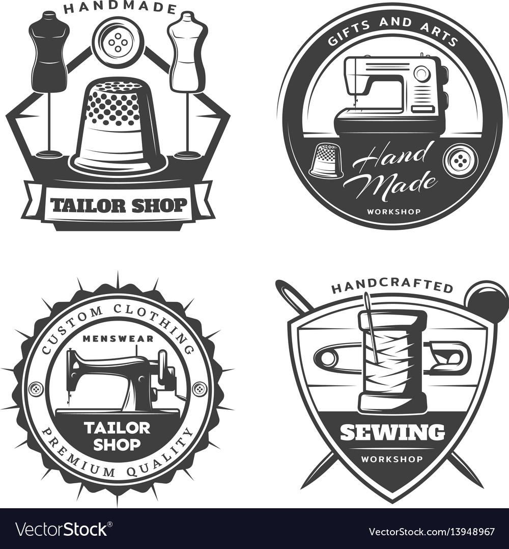 Monochrome tailor emblems set