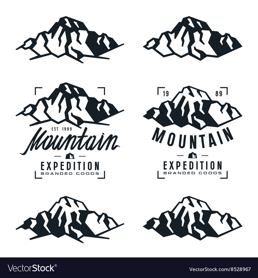 Mountain expedition badges and design elements