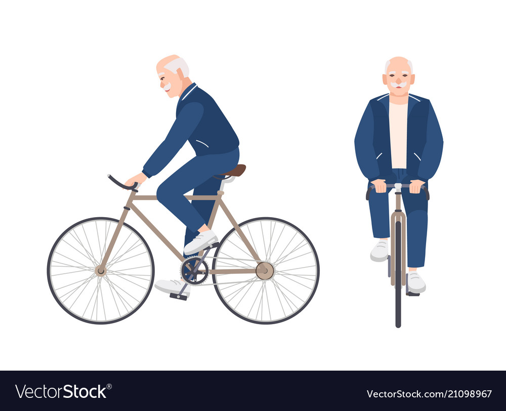 Old man dressed in sport clothing riding bike