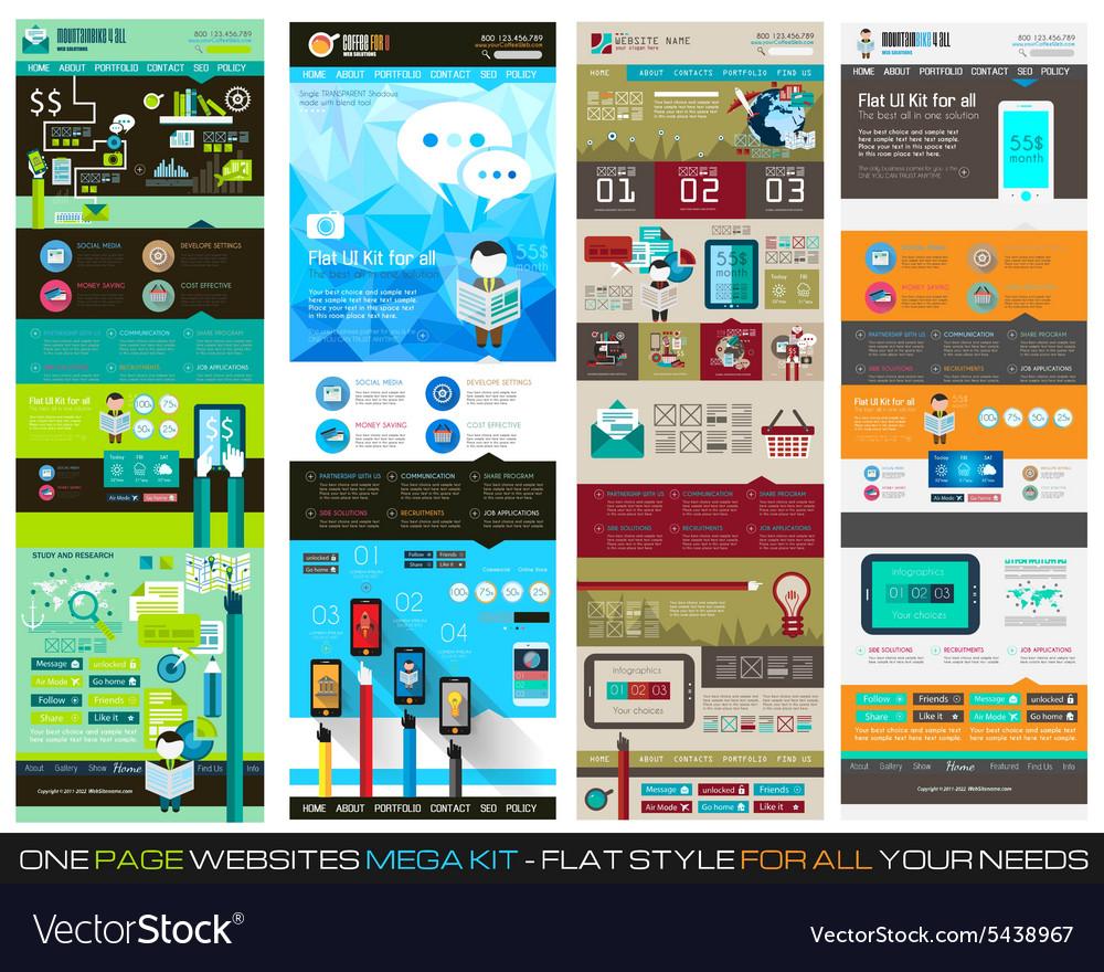 One Page Website Flat Ui Design Template Set 1 Vector Image
