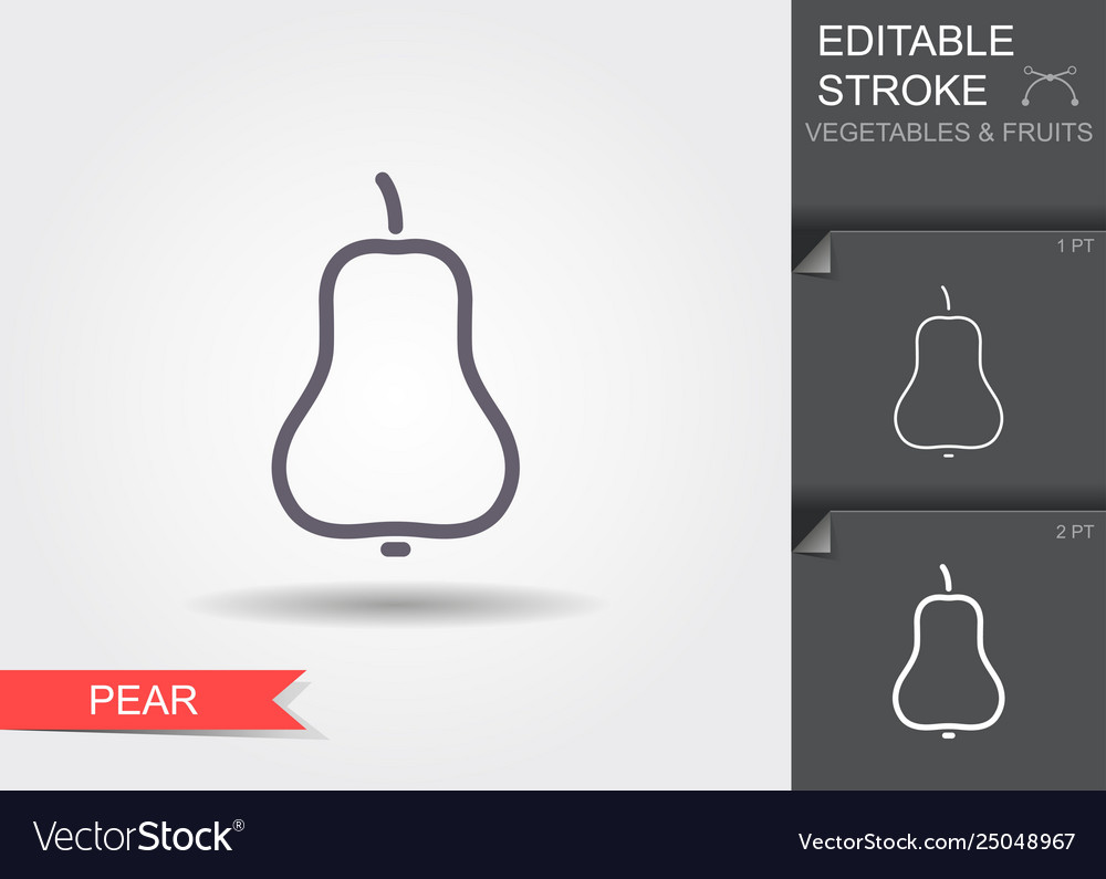 Pear line icon with editable stroke with shadow