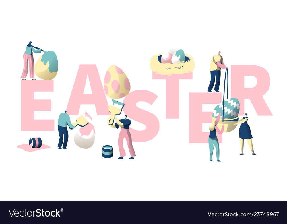 People paint colorful easter egg typography poster