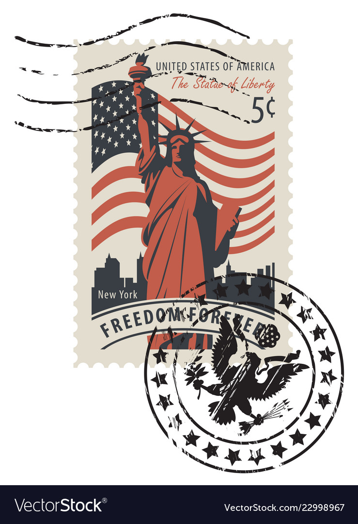Postage stamp with statue of liberty and flag