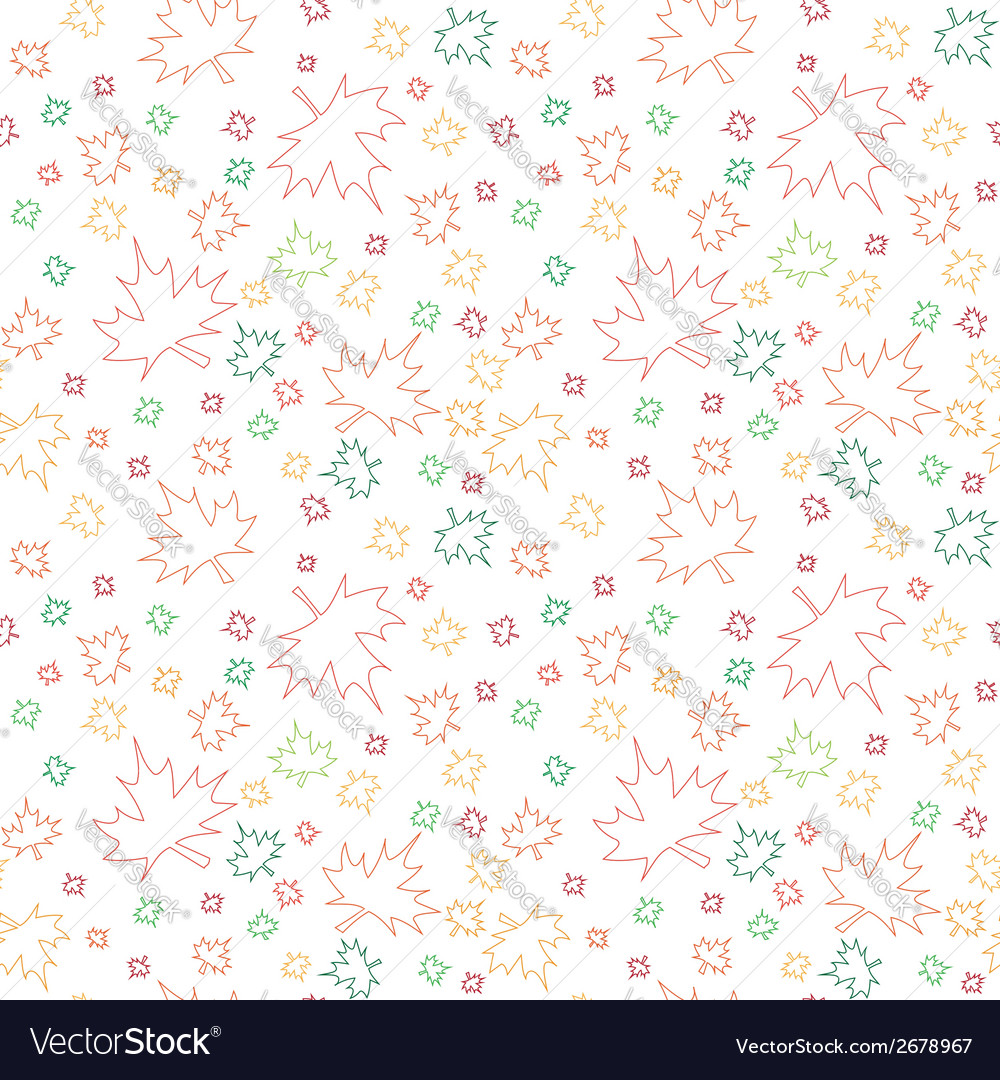 Seamless pattern with outlines of autumn leaves