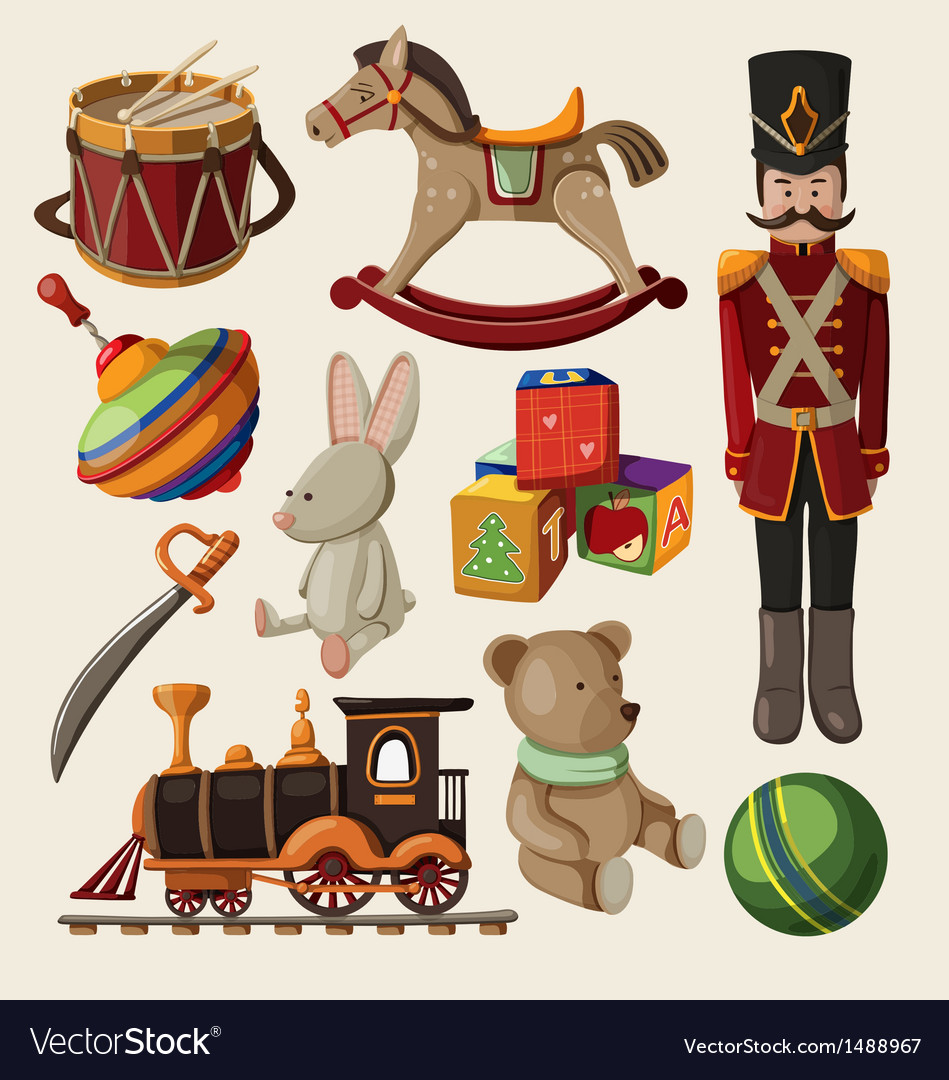 set of colorful vintage christmas toys for kids vector image - Christmas Toys