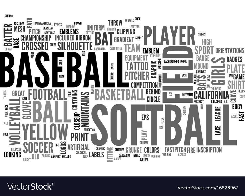 Softball word cloud concept vector image
