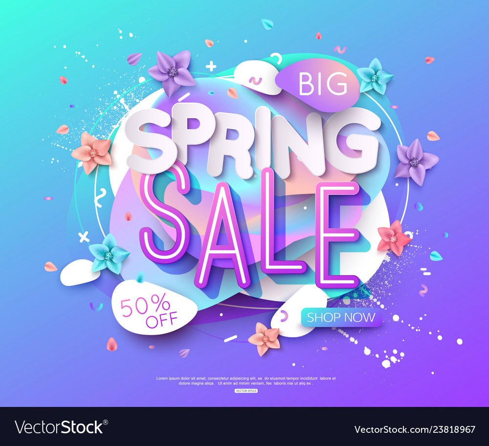 Spring sale banner layout abstract shapes cut