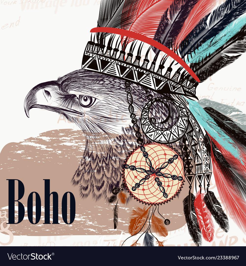 Tribal design in boho style eagle headdress
