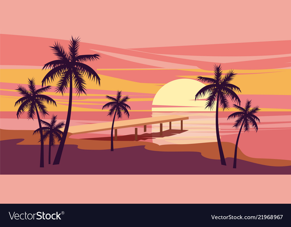 Tropical beautiful sunset landscape palms sea