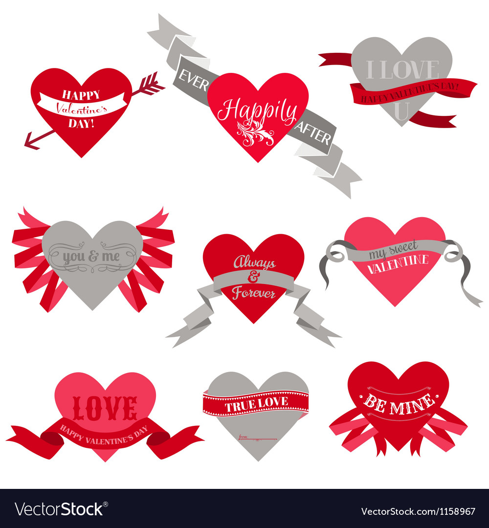 Valentines Day Heart Labels Tags Ribbons Frames