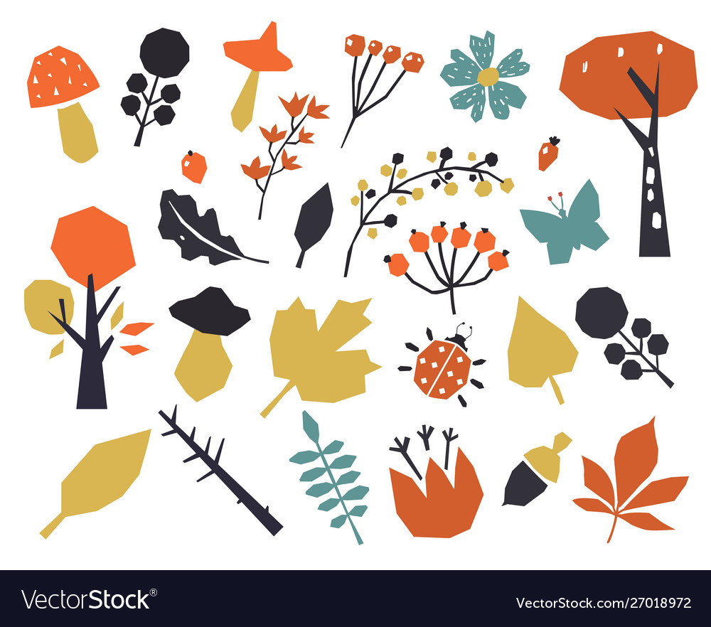 Autumn colorful leaves set isolated on white