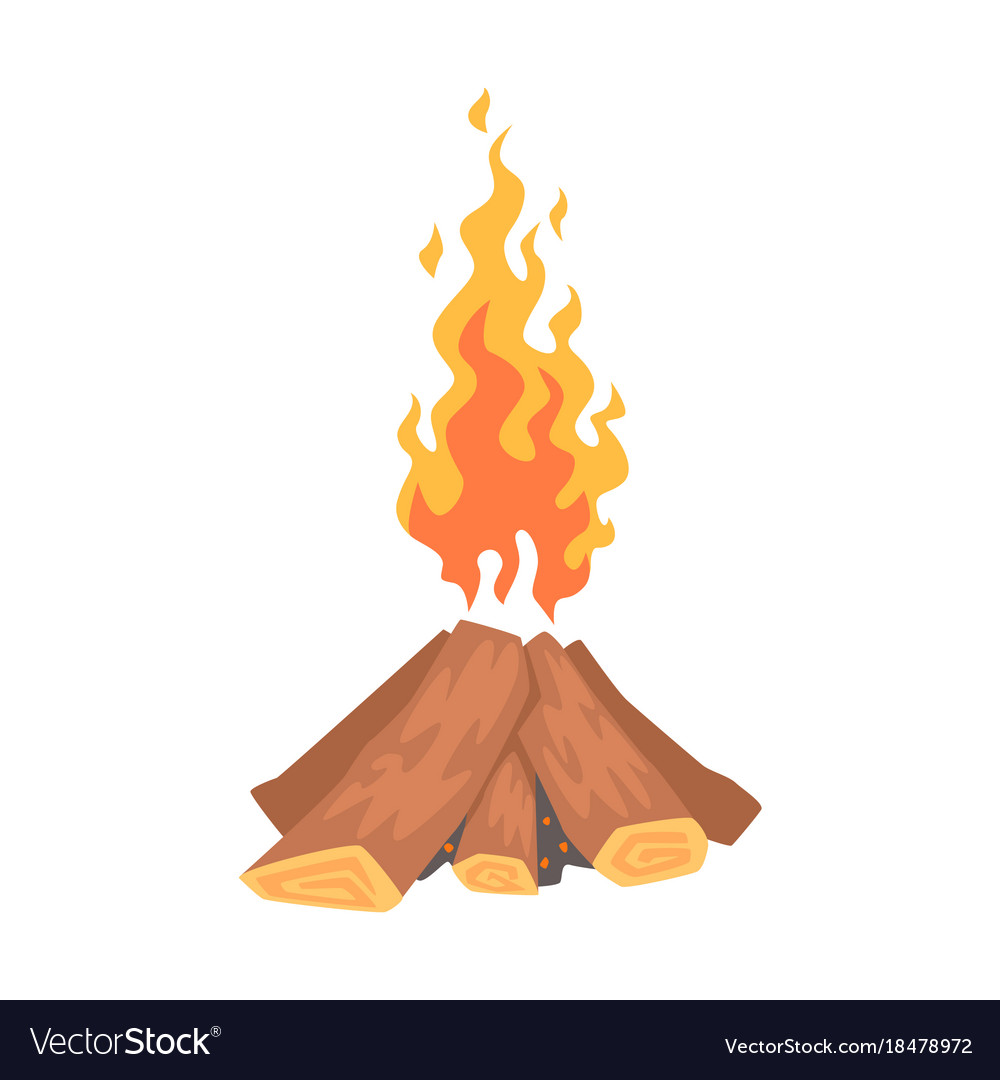 bonfire campfire logs burning cartoon royalty free vector rh vectorstock com cartoon bonfire night pictures bonfire cartoon pictures