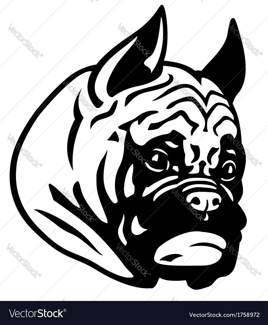 Boxer head black white