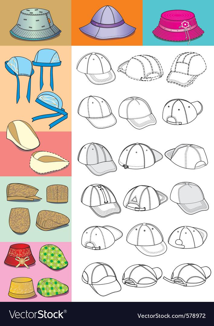 cartoon hats royalty free vector image vectorstock rh vectorstock com cartoon hats pictures cartoon hats and gloves