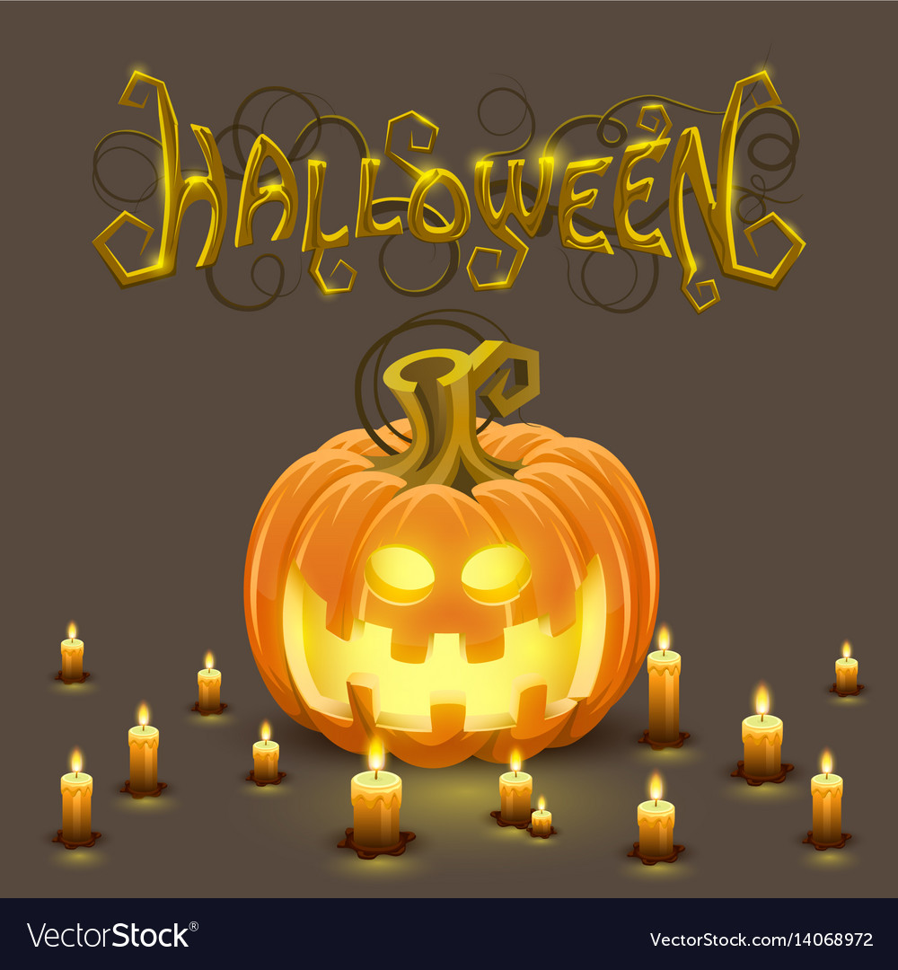 cover halloween pumpkin with a face royalty free vector