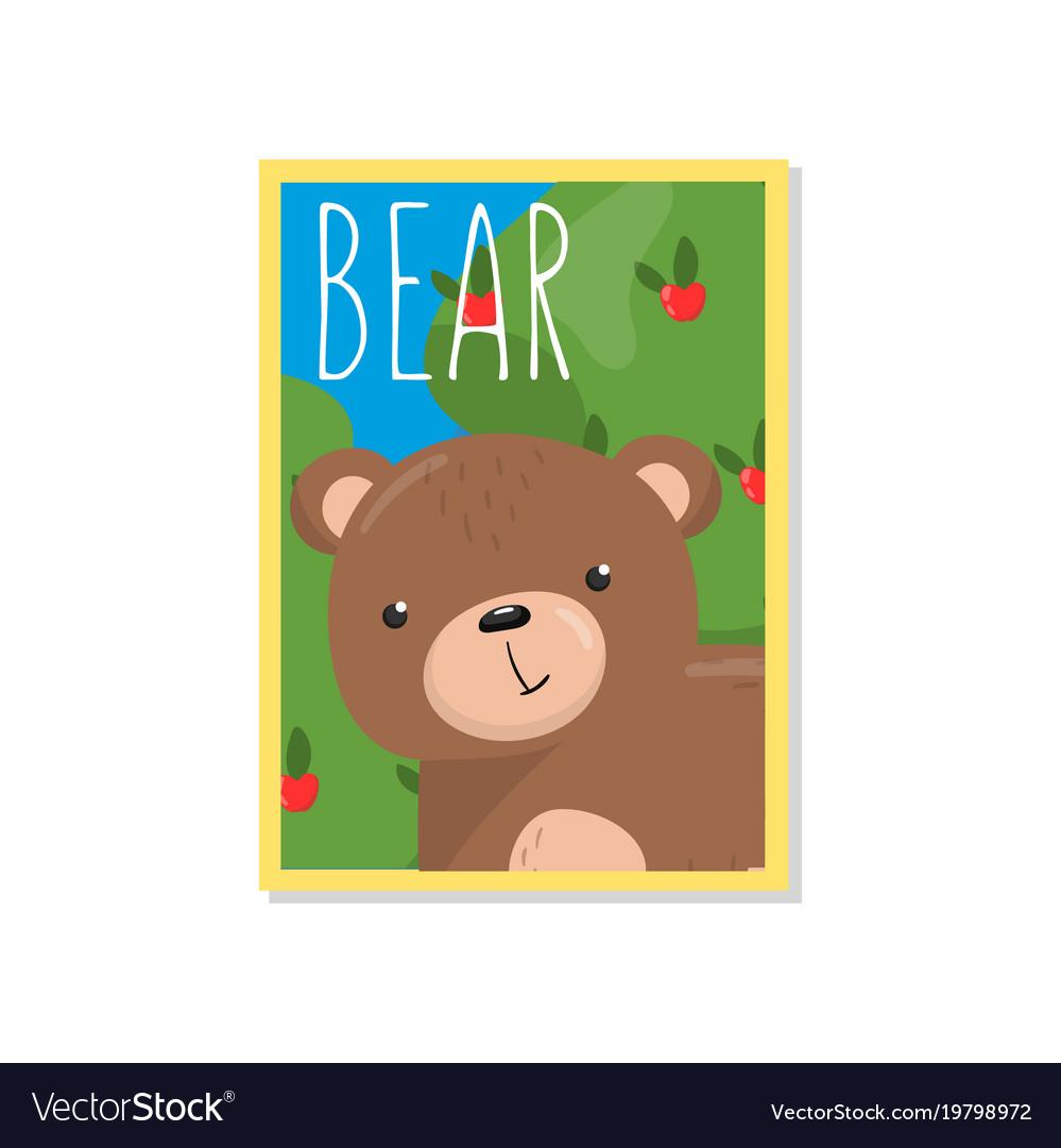 Cute bear with woodland animal