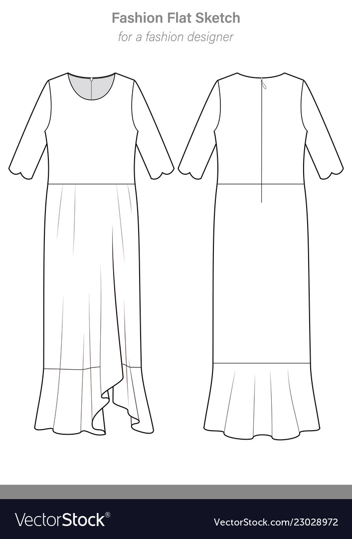 Dress Fashion Flat Technical Drawing Template Vector Image