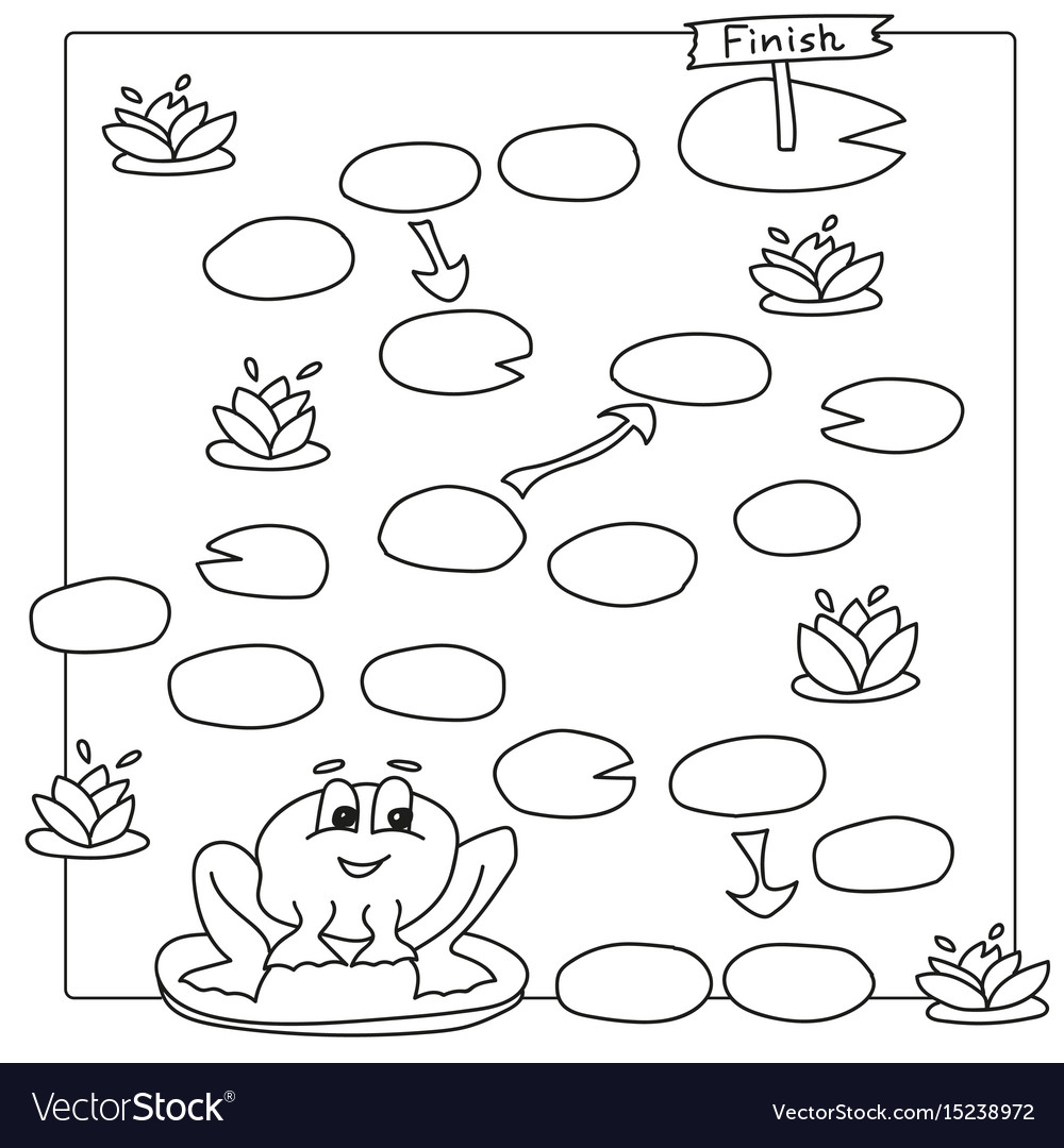 Game template with frog coloring book