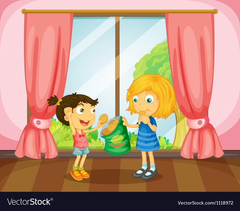 Girls eating cookies in room vector image
