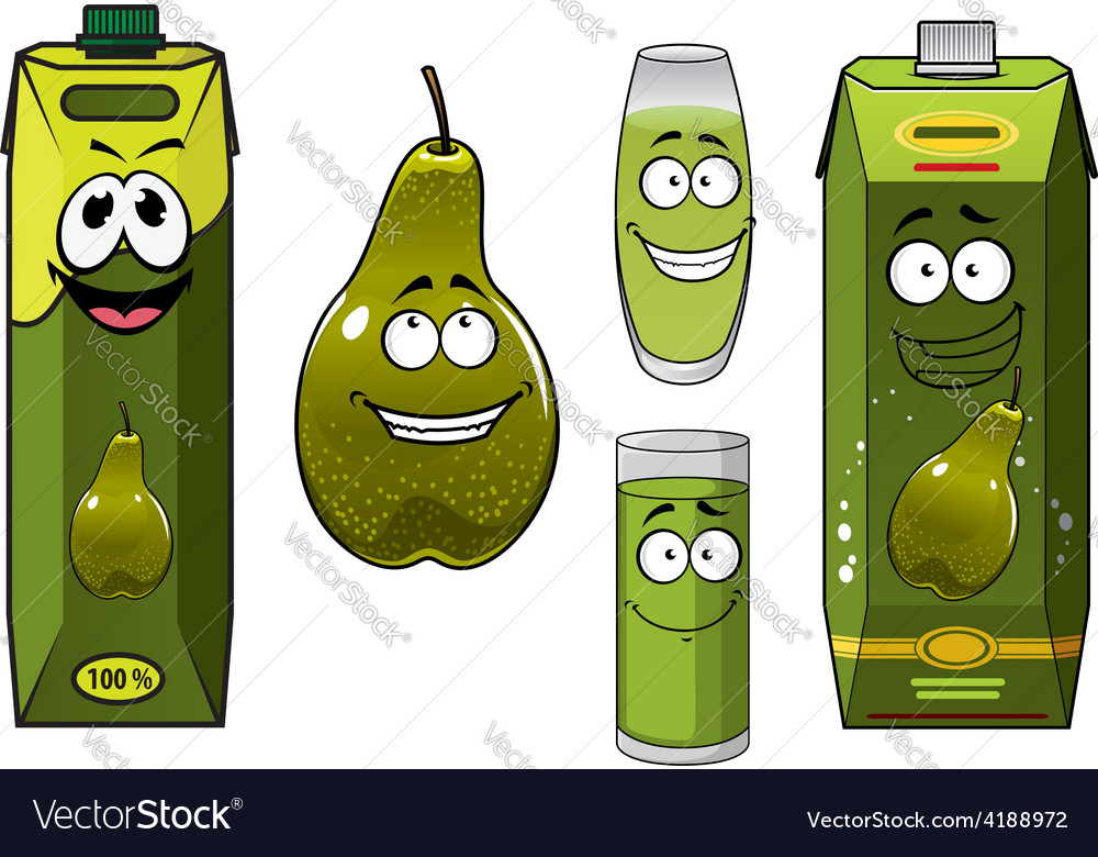 Green pear fruit and juices vector image