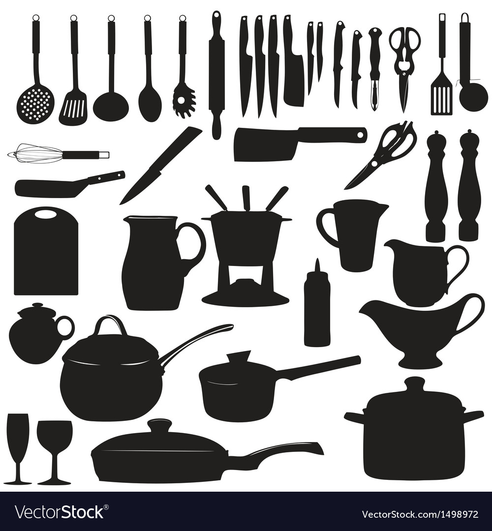 Kitchen tools Silhouette Royalty Free Vector Image