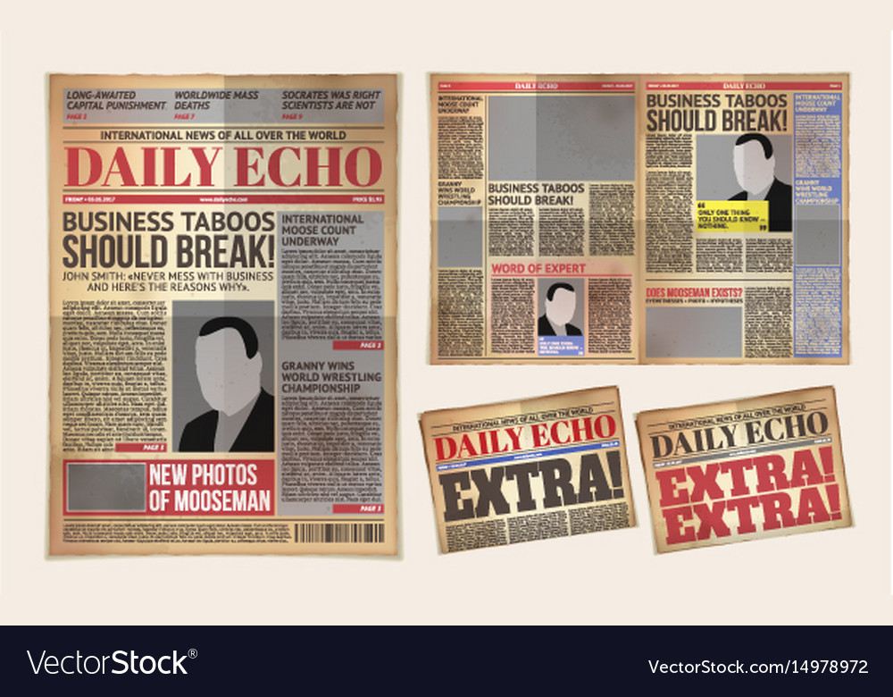 Old Daily Newspaper Template Tabloid Royalty Free Vector