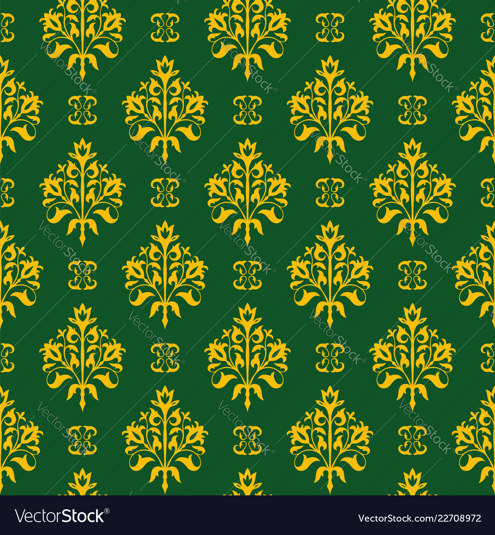 Seamless floral pattern golden and green