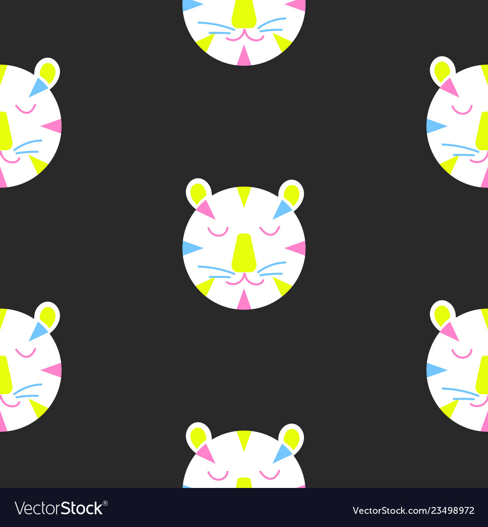 Seamless pattern with cute lion heads on