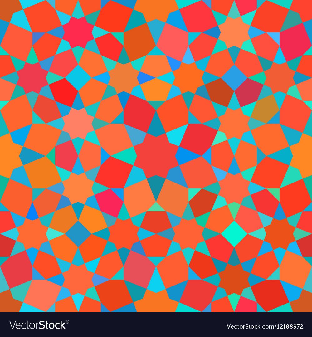 Seamless Tessellation Star Mosaic Red Blue