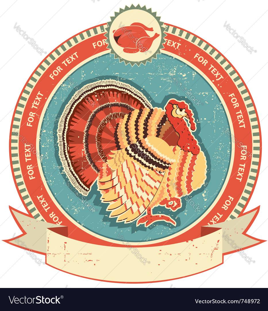 Turkey label vector image