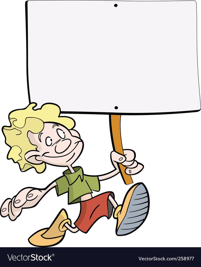 Boy placard vector image