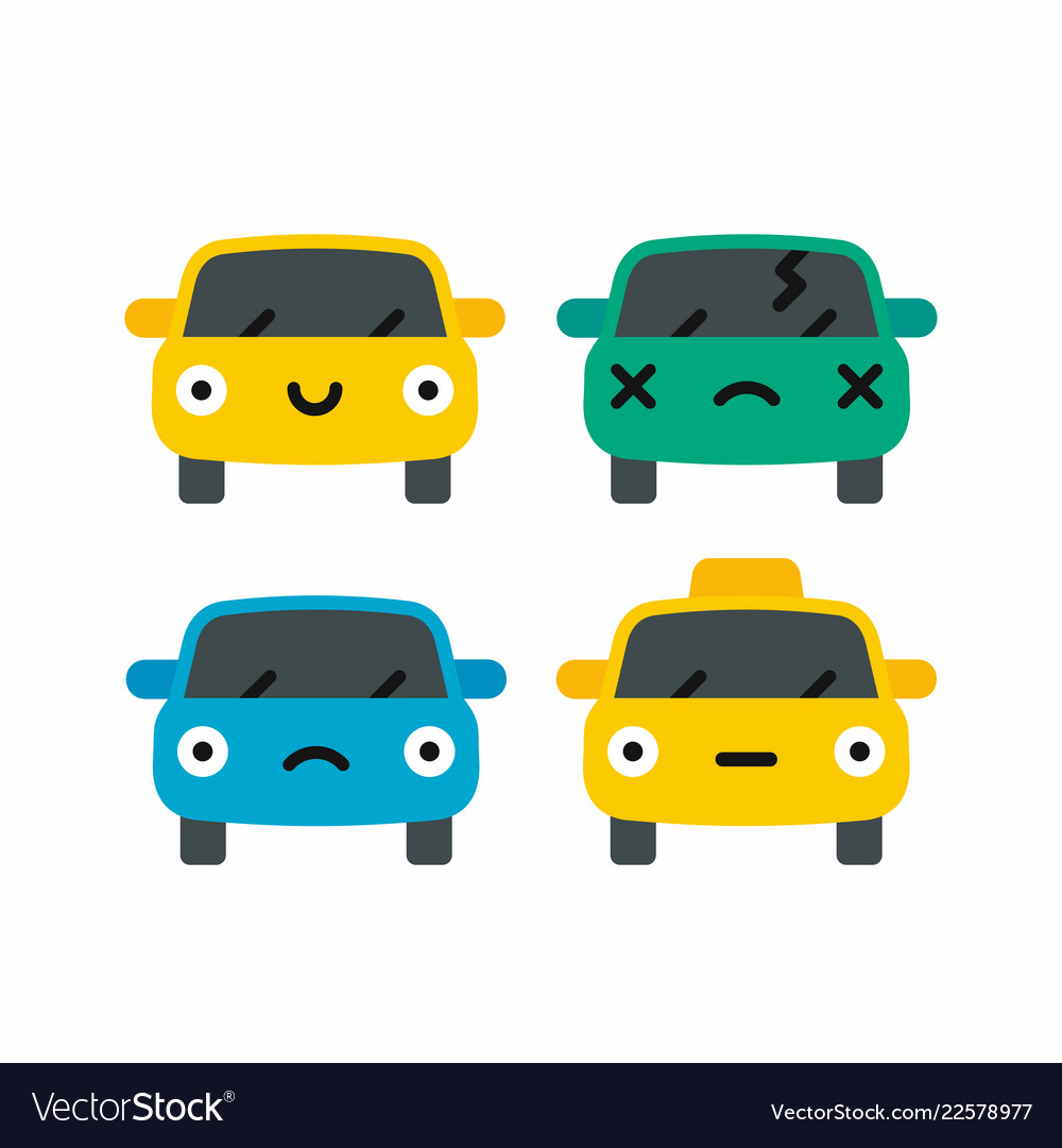 Car emoji car face character smiles colors icons