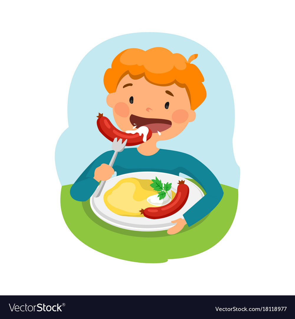 Child eating healthy food Royalty Free Vector Image